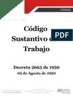 Código Sustantivo Del Trabajo - Decreto 2663 de 1950
