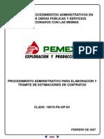 Procedimiento administrativo para elaboración y tramite de estimaciones de contratos