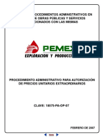 Procedimiento admtivo para autorización de precios unitarios extraordinarios