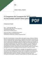 O Congresso de Lausanne de 1875 e Como Os Escoceses Usaram Deus Para Destruí-lo. – REVISTA BIBLIOT3CA