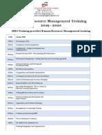 Human Resource Management Training 2019 2020
