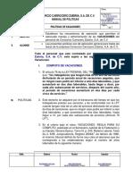 Politicas de Vacaciones 2019 Consorcio Carrocero Zubiria, s.a. de c.V.