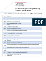 Electrical and Power Engineering Training 2019 2020