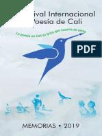 XIX FESTIVAL INTERNACIONAL  DE POESÍA DE CALI. MEMORIAS 2019. 195 páginas