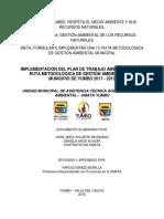 Plan de Trabajo Ambiental de La Ruta Metodológica de Gestión Ambiental Del Municipio de Yumbo 2017 - 2019