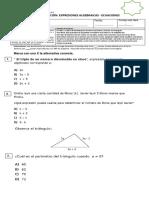 Evaluación Expresiones Algebraicas - Ecuaciones