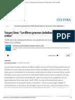 """Vargas Llosa_ """"Los Libros Generan Ciudadanos Con Espíritu Crítico"""" _ Cultura _ EL PAÍS"""