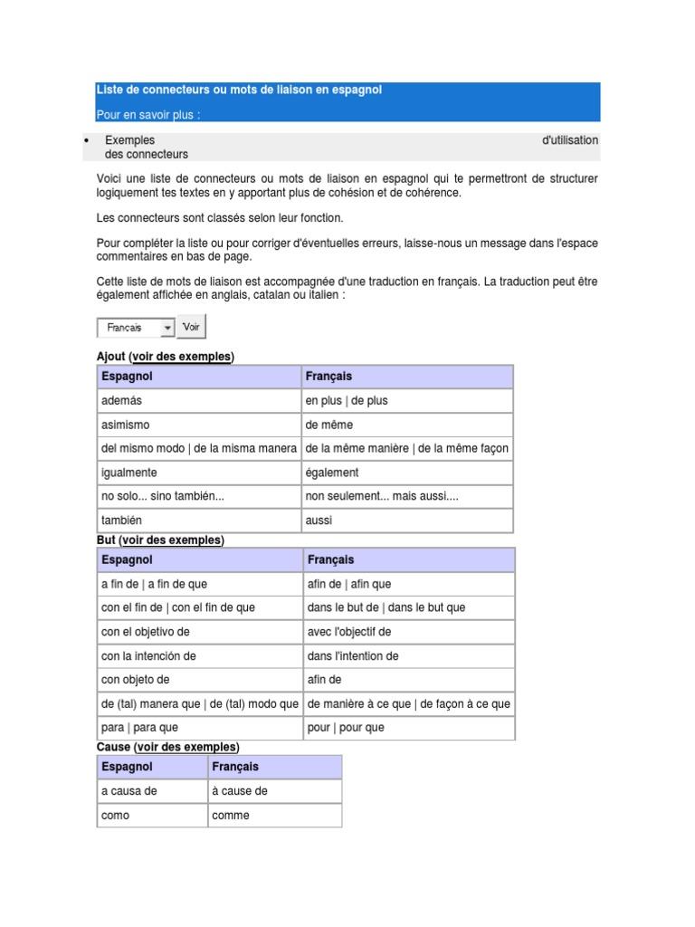 Liste De Connecteurs Ou Mots De Liaison En Espagnol Relations Syntaxiques Linguistique