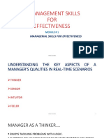 MODULE # 1 = MANAGEMENT SKILLS FOR EFFECTIVENESS