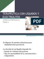 Terapéutica con líquidos y electrolitos.