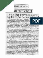 Ngayon, Sept. 18, 2019, Ban ng private cars sa EDSA, crazy idea.pdf