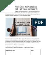 NIOS Admit Card Class 12 (Available)