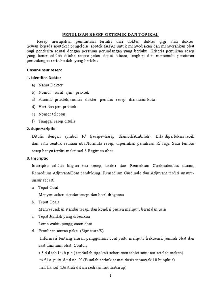 Pedoman Kelengkapan Resep Ade S Dan Kebijakan Batasan Penulisan Resep