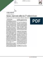 Ateneo, interventi edilizi da 27milioni di euro - Il Resto del Carlino, 18 settembre 2019