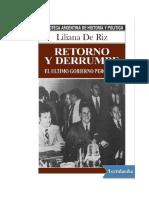 De Riz Liliana - Retorno Y Derrumbe - El Ultimo Gobierno Peronista