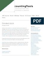 Donated Stock — AccountingTools