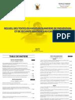 Recueil Des Textes en Vigueur en Matière de Prévention Et de Securite Routiere Au Cameroun