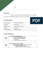 B Tech Freshers Resume Format