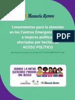 Lineamientos para la atención en los CEM a mujeres afectadas por hechos de ACOSO POLÍTICO.