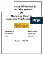 Product and Brand marketing plan for mid segment car