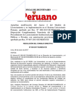 Aprueban Modificación Del Anexo 4 Del Modelo de Licenciamiento y Su Implementación en El Sistema Universitario Peruano