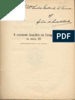 Sousa Viterbo - O Movimento Tipográfico Em Portugal No Século XVI