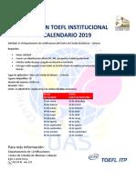 Calendario Examen TOEFL Institucional 2019