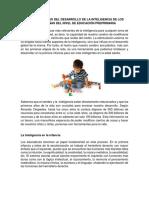 Características Del Desarrollo de La Inteligencia de Los Niños y Niñas Del Nivel de Educación Preprimaria