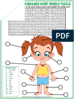 Body Parts Vocabulary Esl Word Search Puzzle Worksheet for Kids