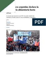 El Congreso Argentino Declara La Emergencia Alimentaria Hasta 2022