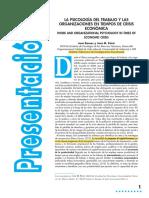LA PSICOLOGÍA DEL TRABAJO Y LAS ORGANIZACIONES EN TIEMPOS DE CRISIS ECONÓMICA