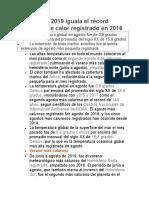 Agosto de 2019 Iguala El Récord Histórico de Calor Registrado en 2016