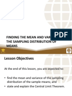 PSUnit III Lesson 2 Finding the Mean- And Variance of the Sampling Distribution of Means