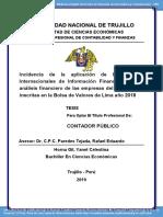 Incidencia de la aplicación de las Normas Internacionales de Información Financiera