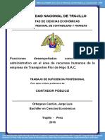 Funciones desempeñadas como asistente administrativo en el área de recursos humanos de la empresa de Transportes