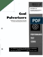 ASME PTC 4.2 Coal Pulverizers (1997)