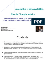 Expose - Methode Simple de Dimensionnement Des Elements d Une Installation Solaire