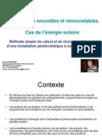 Expose - Methode Simple de Dimensionnement Des Elements d Une Installation Solaire