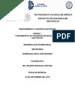 MANTENIMIENTO A EQUIPO ELECTRICO UNIDAD 1