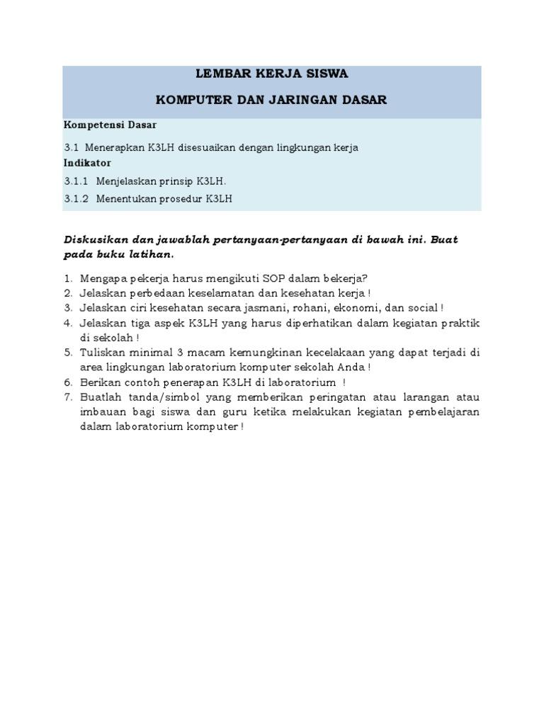 Lembar Kerja Siswa 1 K3lh Docx