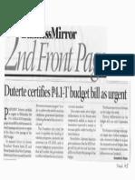 Business Mirror, Sept. 19, 2019, Duterte certifies P4.1-T budget bill as urgent.pdf