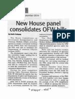 Daily Tribune, Sept. 19, 2019, New House panel consolidates OFW bills.pdf