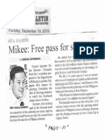 Manila Bulletin, Sept. 19, 2019, Mikee Free pass for student.pdf