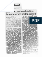 Manila Standard, Sept. 19, 2019, Bills on access to education for underserved sector okayed.pdf
