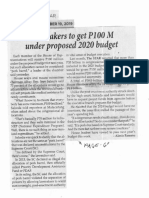 Philippine Star, Sept. 19, 2019, Lawmakers to get P100M under proposed 2020 budget.pdf