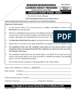 Allen Achiever Course Phase Mazp Neet Ug Minor Test Paper With Solution Date 01-09-2019