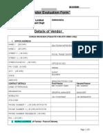 Vendor Evaluation Form