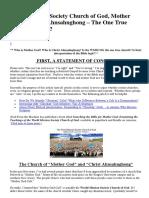 World Mission Society Church of God - OnE TRUE
