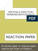 Writing a Reaction PaperReviewCritique