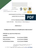 Práctica 4 (Reporte) EA3 Amplificadores, Inversor, no inversor, sumador y restador